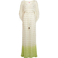 Lime dip dye kaftan maxi dress