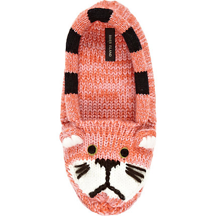 Orange knitted cat slipper socks