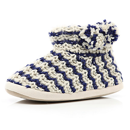 Navy stripe knitted slipper boots