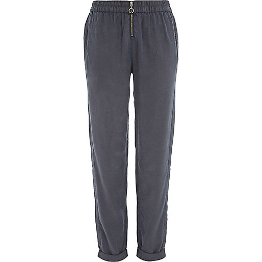 Blue zip front turn up trousers