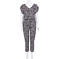 Brown print casual jumpsuit