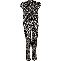 Black tribal print casual utility jumpsuit