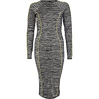 Grey space dye midi column dress