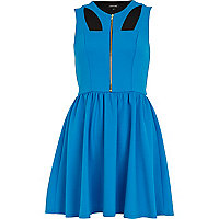 Blue cut-out zip front skater dress