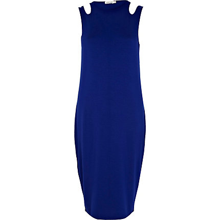Blue cut out shoulder midi column dress