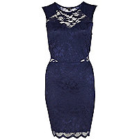 Navy lace panelled bodycon dress