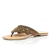 Bronze beaded mule sandals
