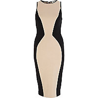 Beige contrast side panel bodycon dress