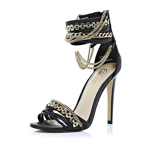 Black multi chain strap sandals