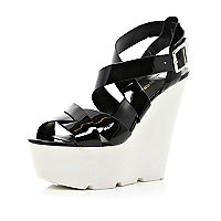 Black patent cross over wedges