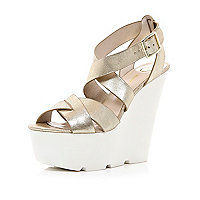 Gold metallic cross over wedges