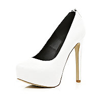 White zip back platform court shoes