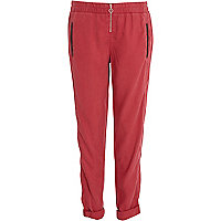 Dark red zip front casual trousers