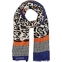 Brown colour block print lightweight scarf