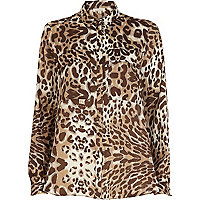 Brown animal print utility pocket shirt