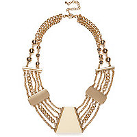 Cream short chain statement necklace