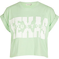 Light green Texas print cropped t-shirt
