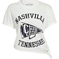 White Nashville print tied crop t-shirt