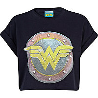 Navy Wonder Woman print cropped t-shirt