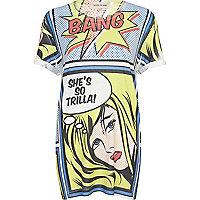 White comic girl print oversized t-shirt