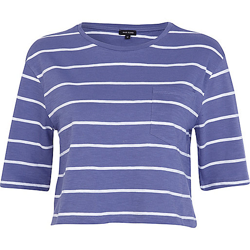 Blue stripe 3/4 sleeve cropped t-shirt