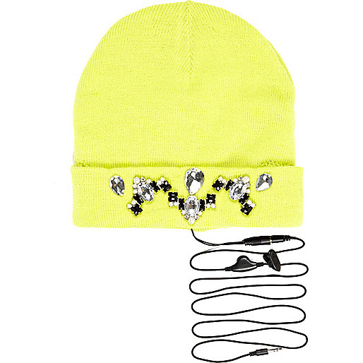 Lime Skinnydip gem stone headphone beanie