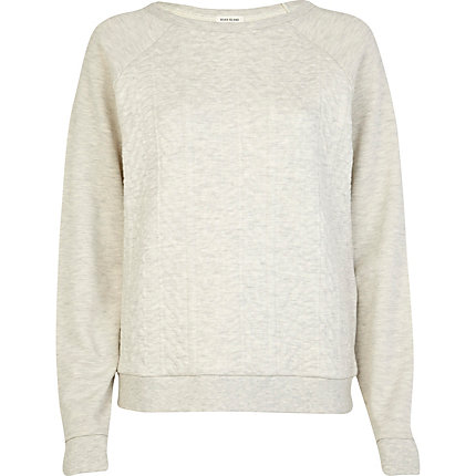 Cream cable quilted sweatshirt