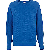 Blue cable quilted sweatshirt