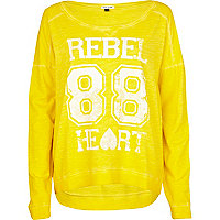 Yellow Rebel Heart print dip hem sweat