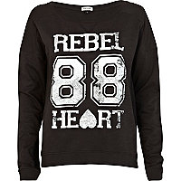 Black rebel 88 print dip hem sweatshirt