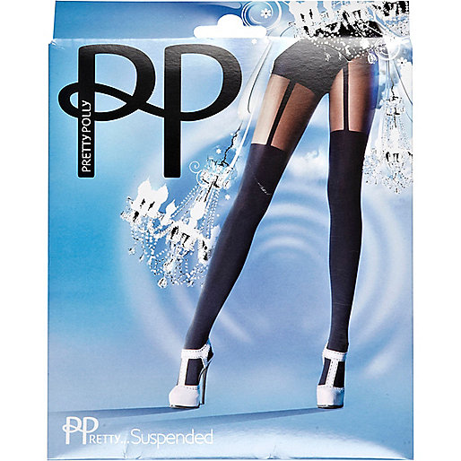 Black Pretty Polly suspender tights