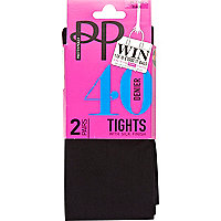 Black Pretty Polly 40 denier opaque tights