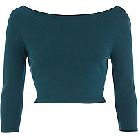 Dark teal 3/4 sleeve crop top