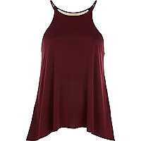 Dark red metal plate necklace cami top