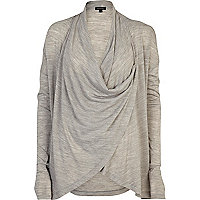 Grey wrap lightweight cardigan