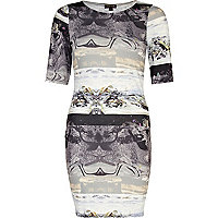 Grey marble print mini column dress