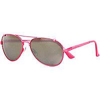 Fluro pink mirror aviator sunglasses