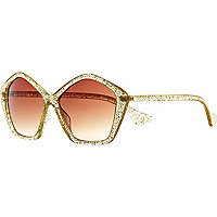 Gold glitter Jeepers Peepers retro sunglasses