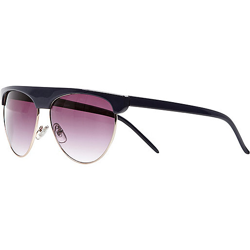 Navy oversized half frame sunglasses