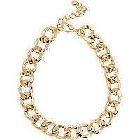 Gold tone chunky curb chain necklace