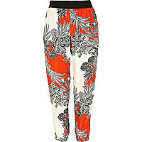 Orange paisley flower print soft trousers