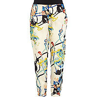 Cream oriental print cuffed hem trousers
