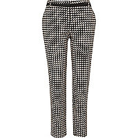 Black and white square print smart trousers