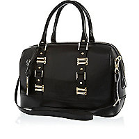 Black leather structured bowler bag