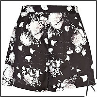 Black floral Rihanna high waisted shorts