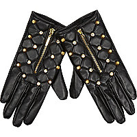 Black leather stud quilted gloves