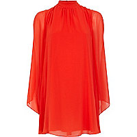 Bright red bell sleeve sheer dress