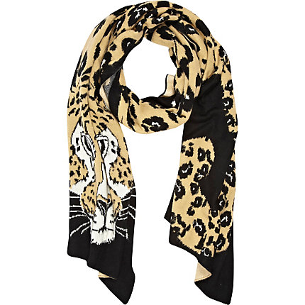 Black cheetah print long scarf