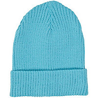 Turquoise rib turn up beanie hat