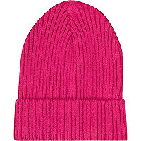 Pink ribbed knit turn up beanie hat
